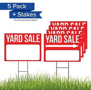 5 Pack 24 X 18 Yard Sale Bundle Sign With 5 Lawn Sign Legs