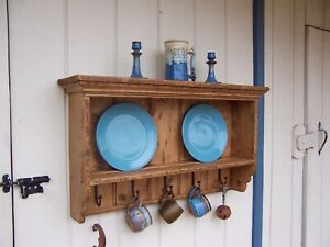 Primitive Rustic Pine Country Display Wall Plate Shelf Farmhouse Shelves Rack
