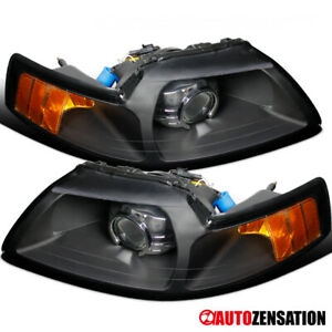For 1999 2004 Ford Mustang Retrofit Style Black Projector Headlights Left Right