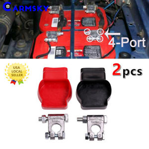 2pcs Zinc Military Style Extended Battery Terminal Kit With Red
