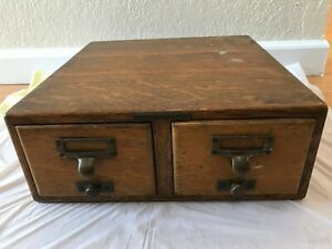 Antique Library Bureau Sole Makers Tiger Oak Card Catalog File Box With Rods
