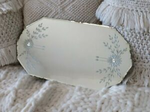 Gorgeous Old Tabletop Dresser Display Mirror Etched Flowers Beveled Ghosty