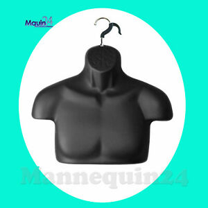 Black Free standing Mannequin Male Torso Dress Form With Removal Hanger