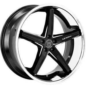 4ea 22 Staggered Lexani Wheels Fiorano Gloss Black Machined Accents S1