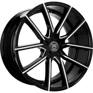 4ea 22 Staggered Lexani Wheels Gravity Black W Cnc Accents Rims S1