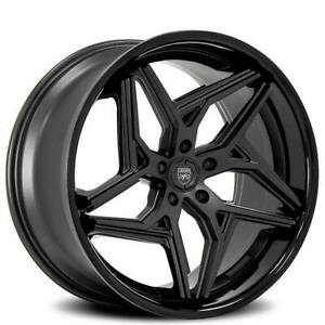 4ea 22 Staggered Lexani Wheels Spyder Satin Black With Gloss Lip Rims S1