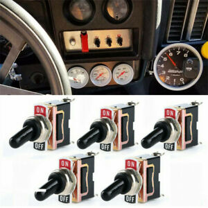 5 Pack Toggle Switch Spst On Off Heavy Duty 2 Pin 12v 25a Waterproof Fr Car Boat