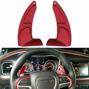 Red Steering Wheel Shifter Paddle Trim Cover For 15 20 Dodge Challenger Charger