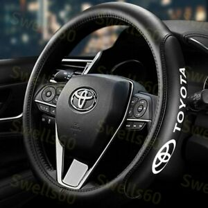 New 15 Car Steering Wheel Cover Genuine Leather For Toyota Black X1