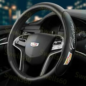 Black New 15 Diameter Car Steering Wheel Cover Genuine Leather For Cadillac