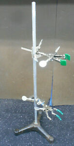 3 Prong Laboratory Stand 8 5 Footprint 23 25 Post W 2 Prong Clamps