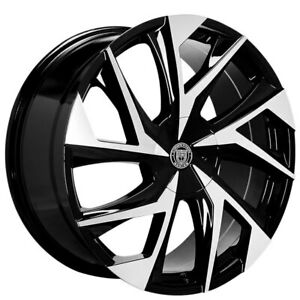 4ea 24 Lexani Wheels Ghost Gloss Black Machined Rims s4
