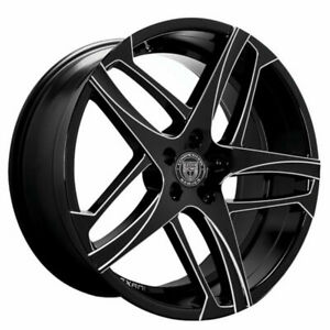 4ea 22 Staggered Lexani Wheels Bavaria Black W Machined Accents Rims S4