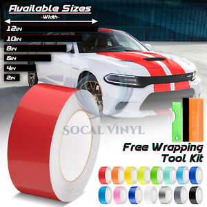 Gloss Color Racing Stripes Vinyl Wrap For Dodge Charger Stripe Sticker 10ft 20ft
