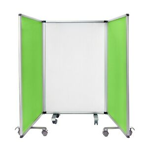 Adiroffice 45 X 32 Portable Flannel Partition Two sided 3 Panel Whiteboard