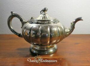 English Silver Mfg Corp Silverplate Teapot Figural Gourd Finial