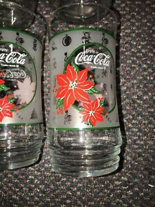 Vintage Coca Cola Coke Poinsettia Christmas Glass Holiday Tumbler Set of 6