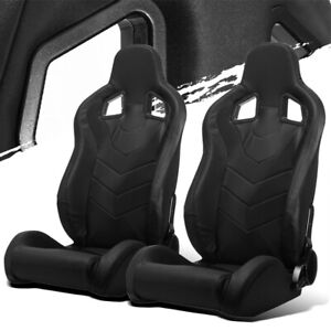 Black Pvc Leather Left right Reclinable Elite Style Racing Bucket Seats Slider