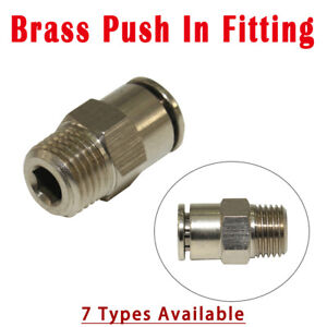 Pneumatic Copper Quick Push Fit Connector Stud Coupling Fitting Plated Chromium