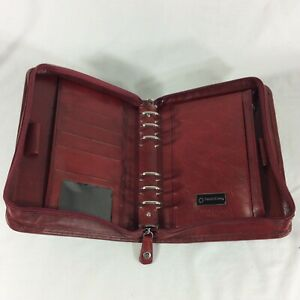 Full Grain Calf Leather Compact Franklin Covey Planner Binder Organizer Red