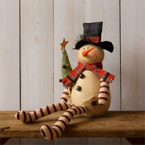 New Primitive Country Folk Art Candy Cane Legs Snowman Doll With Tree Figure 22