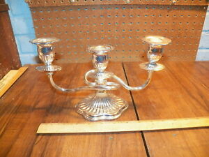 Vintage Silver Plated Candelabra Three Candle Holder