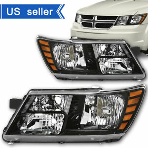 For 2009 2018 Dodge Journey Black Trim Headlights Headlamp 09 18 Pair Left Right