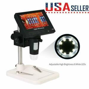 1000x 4 3 720p 8 Lcd Monitor Digital Video Led Microscope Magnifier W Holder