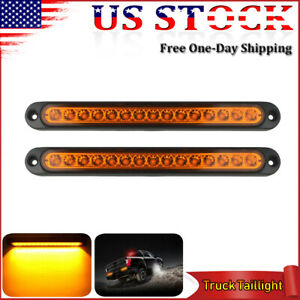 2x Sealed Amber 10 15led Tail Id Bar Light Truck Trailer Bed Center Lights Strip
