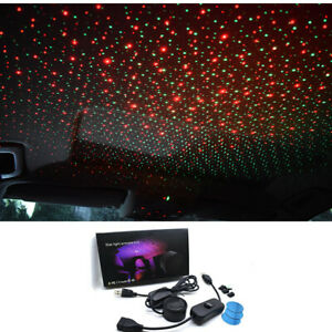 Car Interior Roof Led Star Sky Night Light Projector Atmosphere Lamp Red green