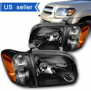 For 2005 2006 Toyota Tundra 05 07 Sequoia Black Headlights Headlamps Left Right