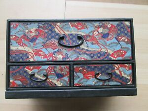 Old Vintage Japanese Tissue Box Holder With Drawers For Night Stand Or Table