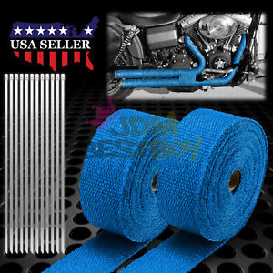 2 Roll X 2 50ft Blue Exhaust Thermal Wrap Manifold Header Isolation Heat Tape
