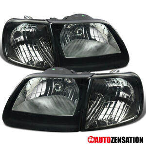 For 1997 2003 Ford F150 Expedition Smoke Lens Headlights W Corner Signal Lamps
