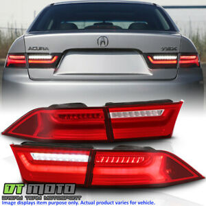 2004 2008 Acura Tsx Red Clear Led Tube Tail Lights Brake Lamps 4pcs Left Right