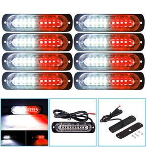 8x Red white 10led Emergency Hazard Warning Flash Strobe Light Beacon Caution