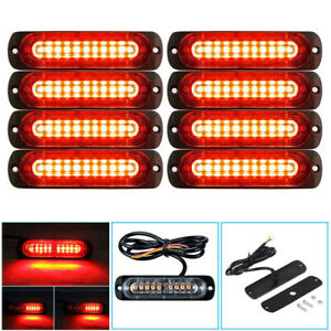 8x Red red 10led Emergency Hazard Warning Flash Strobe Light Beacon Caution