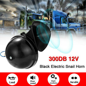 300db Loud Air Snail Single Horn For 12v Car Truck Lorry Suv Rv Universal Black