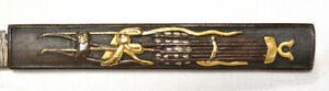 Old Japanese Sword Kozuka Bow Quivers Gold Shakudo Silver Signed Blade Old