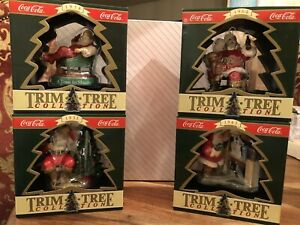 4 Piece Coca Cola Trim A Tree Santa Ornament Collection 1993 & 1995