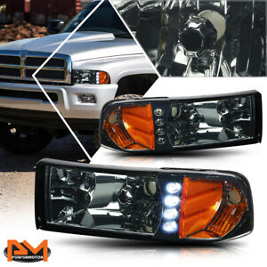 For 94 02 Dodge Ram 1500 3500 Led Drl Headlight lamp Smoked Housing Amber Corner