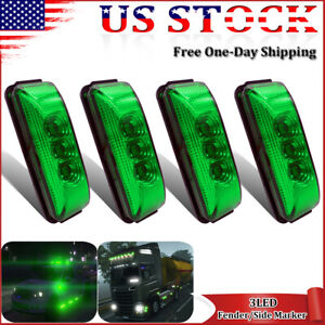4x Oval Led Clearance Marker Lights For Truck Trailer Lorry Bus Boat Side Green