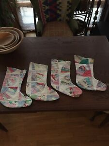 Antique Vintage Cutter Quilt Christmas Stocking 4 Available Great Gift Idea