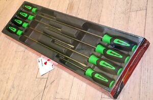 Snap on Tools 8 Piece Instinct Green Soft Grip Long Cabinet Screwdriver Set New