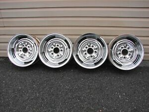 Vintage Chrome Reverse 14x6 Wheels 5x4 75 Bc Set Of 4 Gm Dated 1967 68