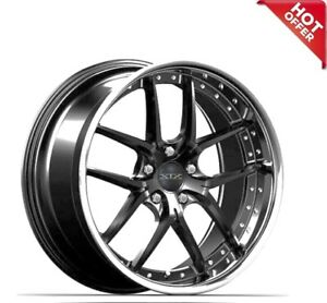 4ea 20 Staggered Xix Wheels X61 Gloss Black With Ss Lip Rims S1
