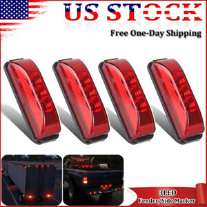 4x Red 3 9 led Clearance Side Marker Signal Lights For Truck Trailer Lorry Bus