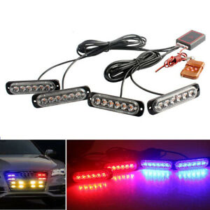 4x Car 6led Red Blue Police Strobe Flash Light Dash Emergency Warning Lamp Kit