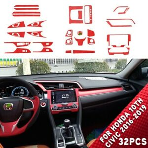 Fit For Honda 10th Civic 2016 2019 32pcs Red Film Cover Interior Accessories