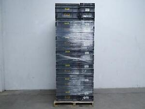 Pallet Of 35 Black Plastic Straight Wall Containers 22x14x14